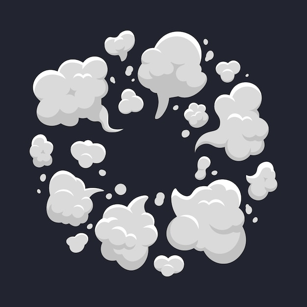 Cartoon dust cloud. comic dust cloud explosion, steam, smoke cloud explode. cloud action element   illustration. dust smoke and fog, collection of cloudy smog for game Premium Vector
