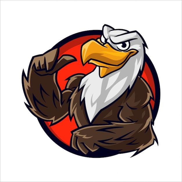 Cartoon eagle muscle Premium Vector