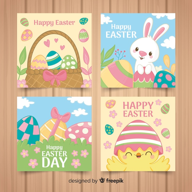 Cartoon easter card pack Free Vector