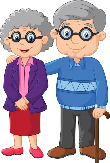 Cartoon elderly couple isolated on white background Premium Vector
