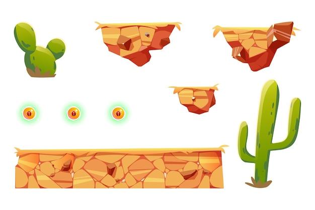 Элементы мультфильма для платформы аркадных игр, элементы ландшафта пустыни дизайна 2d ui для компьютера или мобильного телефона. Бесплатные векторы