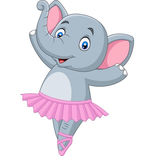Cartoon elephant ballet dancer Premium Vector