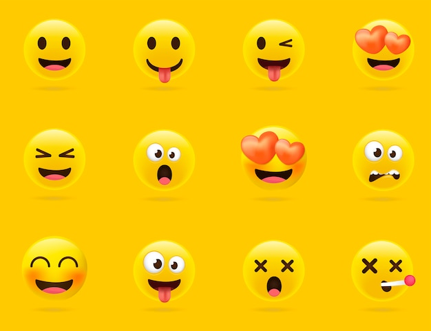 Cartoon emoji collection. set of emoticons with different mood. 3d style Premium Vector