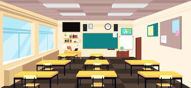 漫画の空の教室、机と黒板と高校の部屋のインテリア。教育 Premiumベクター