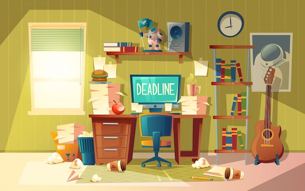 Cartoon Empty Home Office In Chaos   Deadline Concept, Approaching  Finishing Time. Free Vector
