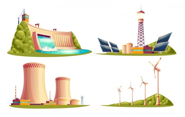 Cartoon energy stations - alternative, renewable traditional. Premium Vector