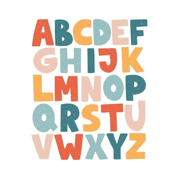 漫画の英語のアルファベット。 abc。面白い手描きのグラフィックフォント。大文字。 Premiumベクター