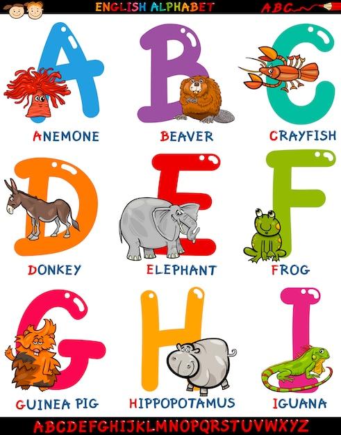 Мультяшный английский алфавит с животными Premium векторы