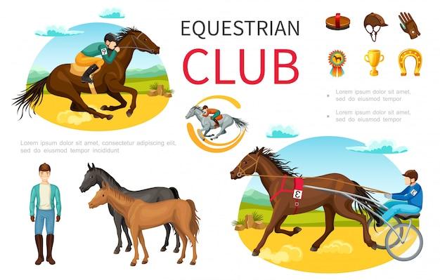 騎手乗馬馬ブラシキャップ革手袋メダルトロフィー馬蹄漫画入り馬術スポーツ要素 無料ベクター