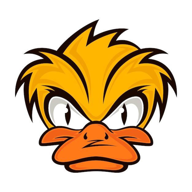 Cartoon evil face duck Premium Vector