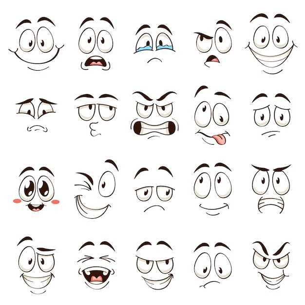 Мультяшные лица. карикатурные комические эмоции с разными выражениями. выразительные глаза и рот, набор забавных персонажей, злых и сбитых с толку смайликов Premium векторы