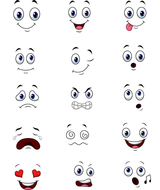 Cartoon faces expressions collection set Vector | Premium ...