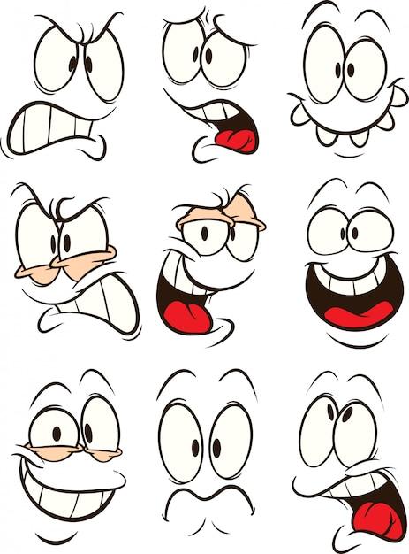 Cartoon faces Premium Vector