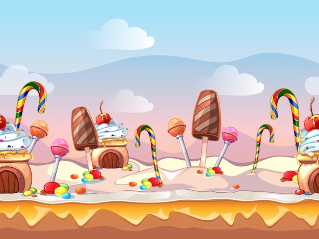 Cartoon fairy tale candy seamless scene for computer game. sweet design, food decoration, dessert cake Free Vector