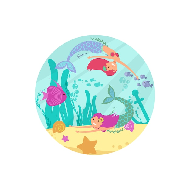 Cartoon fairytale underwater  banner with mermaids and fishes Premium Vector