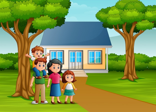 Premium Vector | Cartoon family in front of the house yard