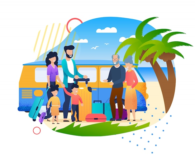 Cartoon family meeting outdoors at beach father mother children Premium Vector