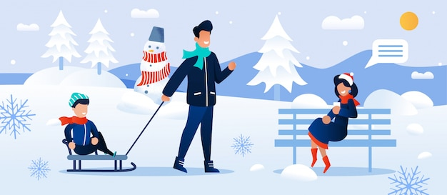 Cartoon family rest in snowy forest park together illustration Premium Vector