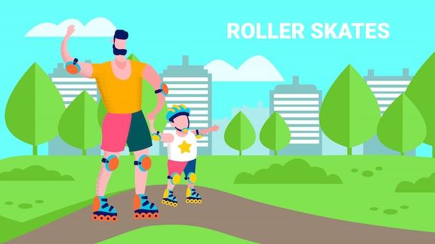 Мультфильм family roller skate flat спорт иллюстрация Premium векторы