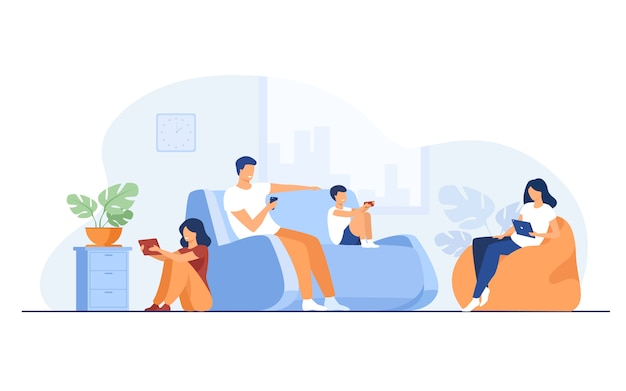 Cartoon family sitting at home with gadgets Free Vector