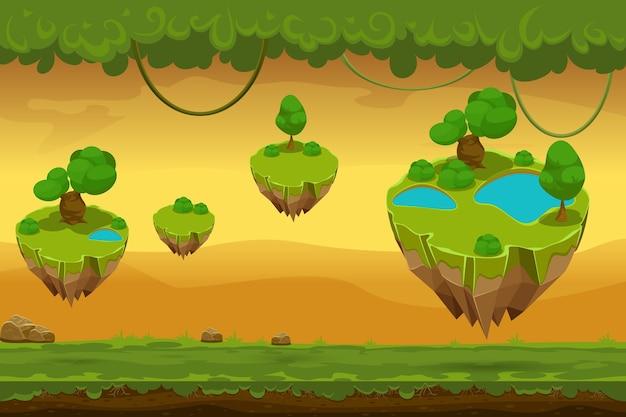 Мультфильм фантастический лесной пейзаж. панорама природы для игры, лиана и покрытая трава, игра пейзаж. векторная иллюстрация Бесплатные векторы