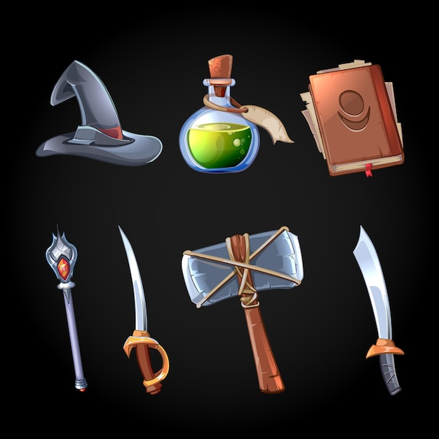 Icone di magia e armi di fantasia del fumetto impostate per il gioco per computer. spada e bastone, stregoneria e bottiglia di veleno, cappello e martello, oggetto di gioco per app. Vettore gratuito