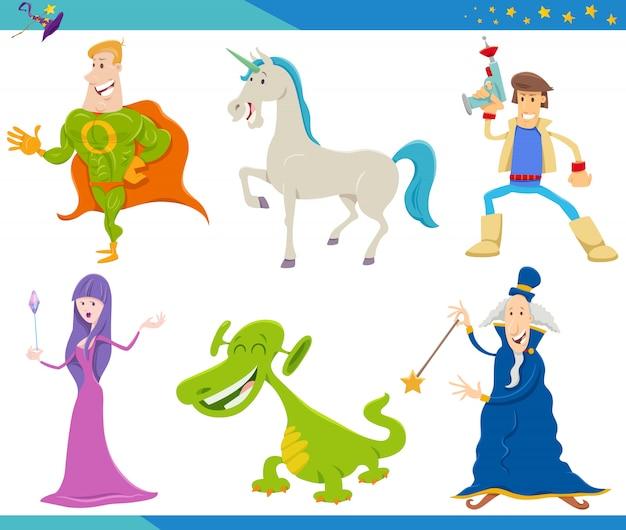 Cartoon fantasy monster and alien characters set Premium Vector