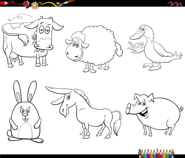 Раскраски страницы книги набор персонажей мультфильмов сельскохозяйственных животных Premium векторы