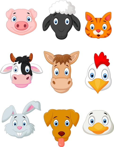 Cartoon farm animal set Premium Vector