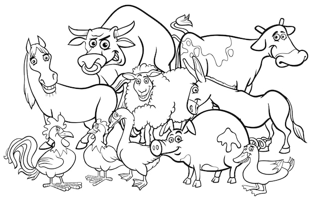 Cartoon farm animals coloring book Vector | Premium Download