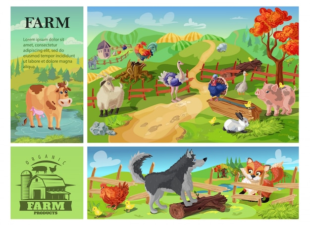 Cartoon farm animals composition with cow goat pig sheep rooster rabbit ostrich turkey on rural landscape and dog defending chicken from fox Free Vector