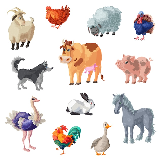 Cartoon farm animals set Free Vector