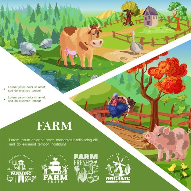 귀여운 돼지 칠면조 소 거위 닭 아름다운 자연과 시골 풍경과 농업 레이블 만화 농장 동물 템플릿 무료 벡터