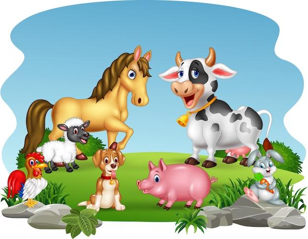 Cartoon farm animals with nature background Premium Vector