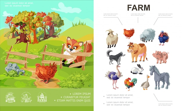 Cartoon farm colorful composition with different animals and fox looking at chicken on nature landscape Free Vector