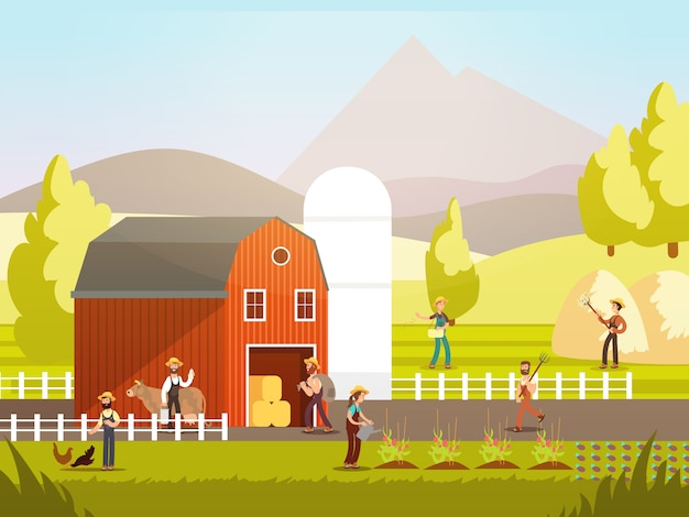 Cartoon farm with farmers, farm animals and equipment Premium Vector