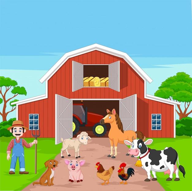 Cartoon farmer and farm animals in the barnyard Premium Vector