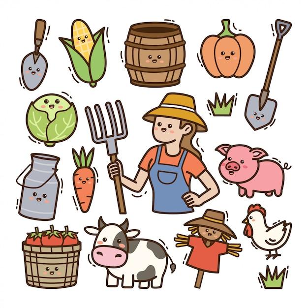 Мультяшный фермер с сельскохозяйственным оборудованием каваи каракули иллюстрации Premium векторы