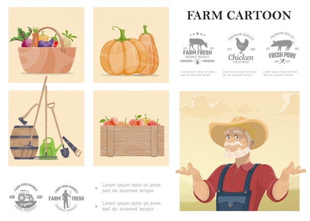Cartoon farming and agriculture composition with farmer manual labor tools vegetables apples and farm monochrome design emblems Free Vector