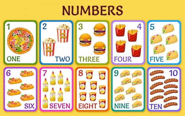 Cartoon fast food. children cards numbers. Premium Vector
