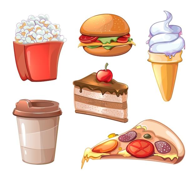 Набор клипартов мультяшный фаст-фуд. бургер, гамбургер и пицца, сэндвич и фастфуд, жареный картофель, попкорн и кофе Бесплатные векторы