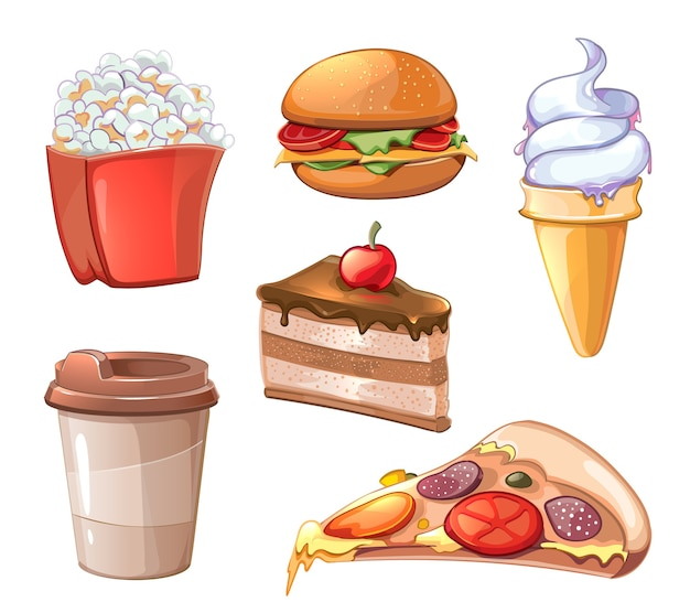 Cartoon fast food clipart set. burger hamburger and pizza, sandwich and fastfood, fried potato, popcorn and coffee Free Vector