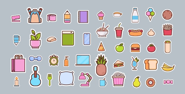 Cartoon fast food and items different icons collection Premium Vector