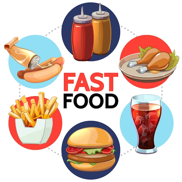 Cartoon fast food round concept Free Vector