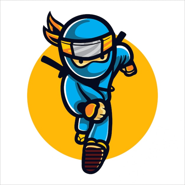 Cartoon fast ninja Premium Vector