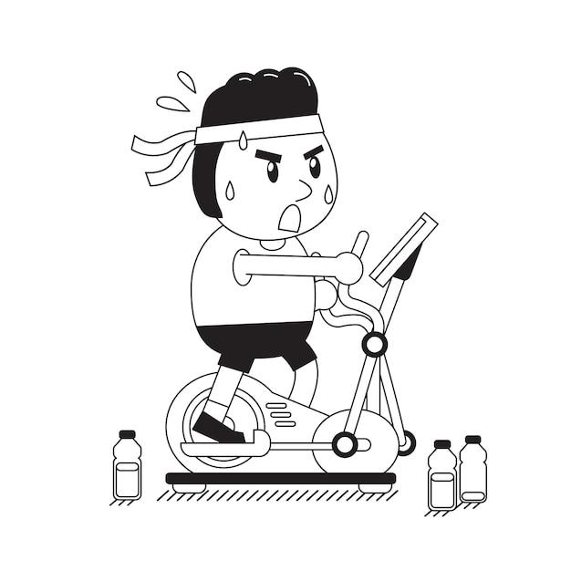 Cartoon Fat Man Exercising On Elliptical Machine Vector