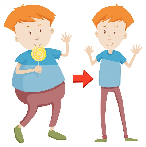 A cartoon of fat and slim boy Free Vector