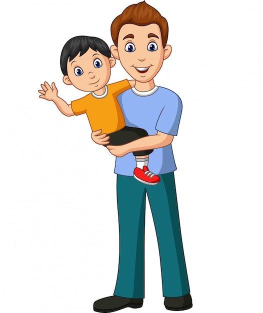 Premium Vector Cartoon Father Carrying A Son In His Arms