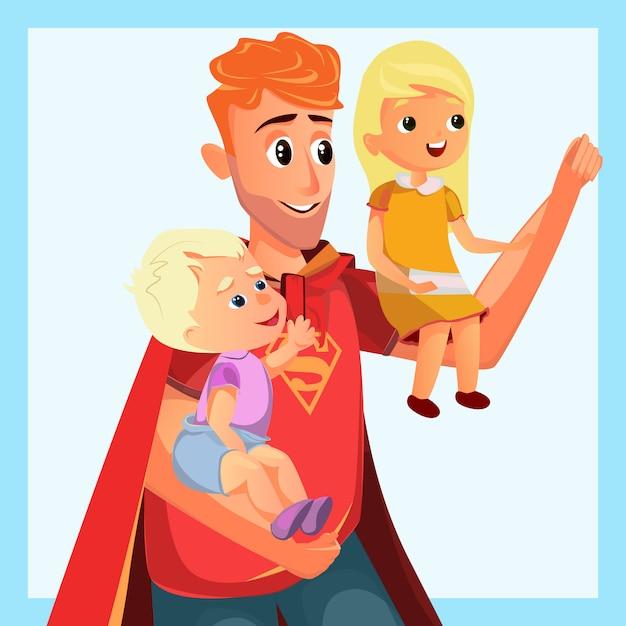 Cartoon father play superhero with son daughter Premium Vector