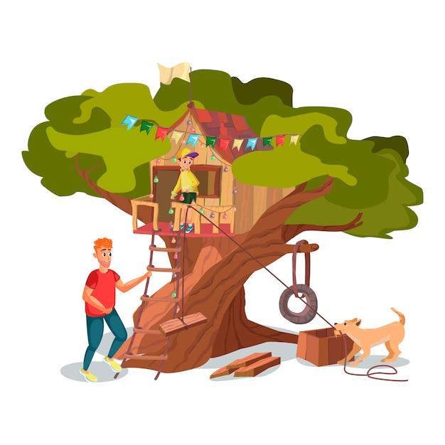 Cartoon father son dog build house on tree garden Premium Vector